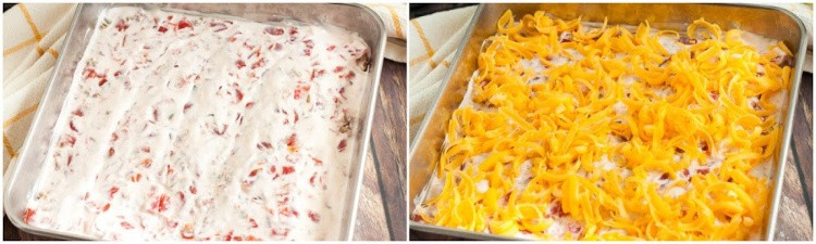 casserole with sour cream added and then cheese added