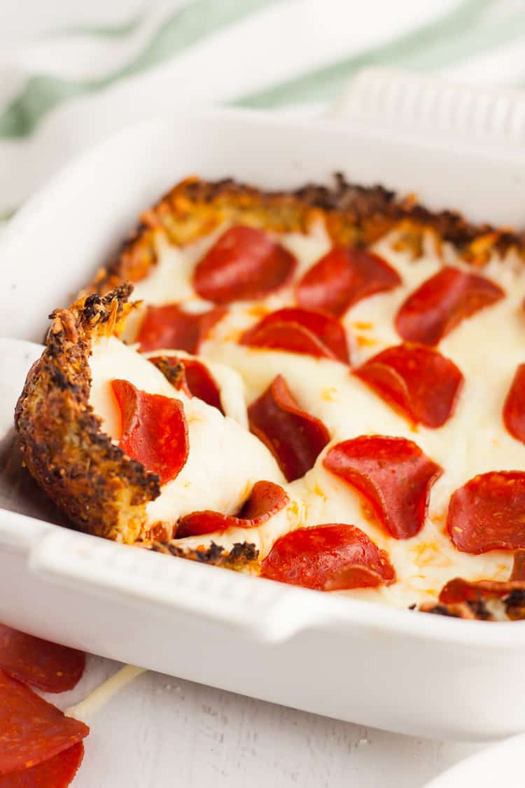 keto pizza casserole in serving dish