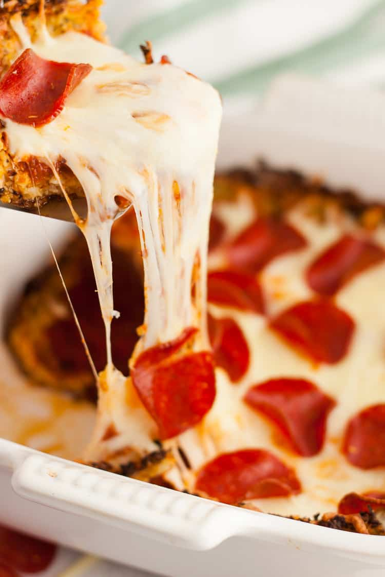 keto pizza casserole with cheese and pepperoni
