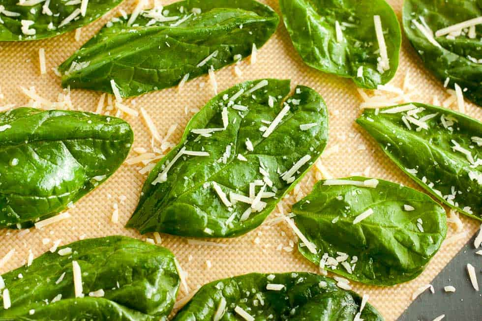 baked spinach on sheetpan