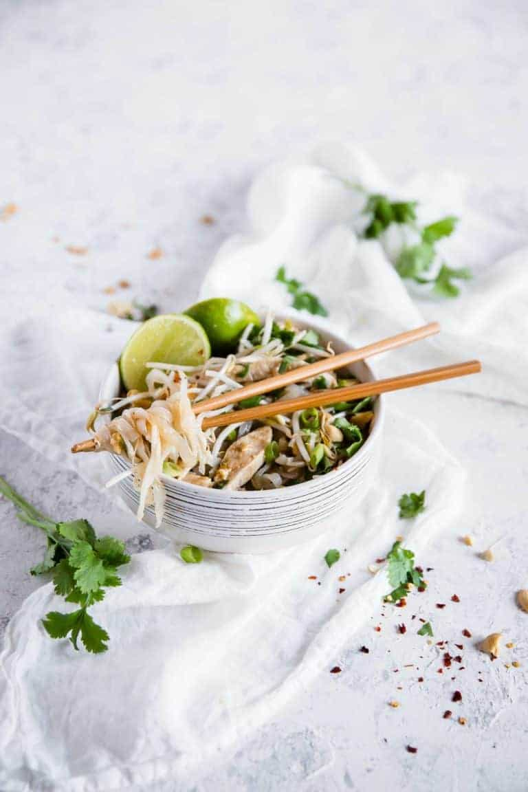 keto takeout recipes chicken pad thai in bowl with chopsticks