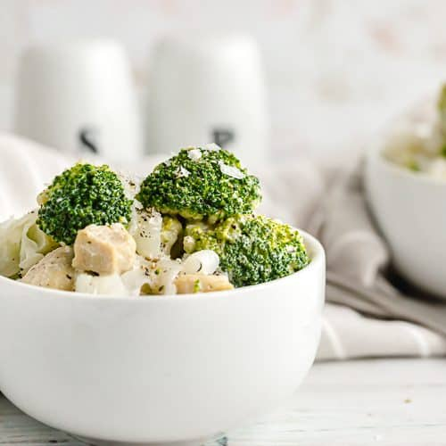 keto chicken broccoli alfredo with noodles in serving bowl