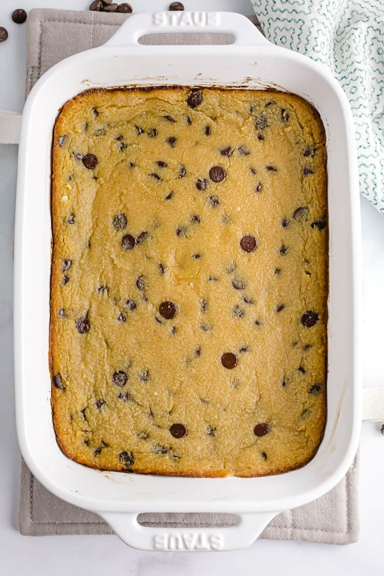 easy keto cookie chocolate chip casserole in dish