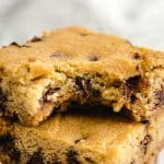 low carb chocolate chip cookie bar in squares on dish