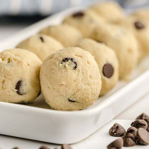 keto chocolate chip cookie dough fat bomb balls on serving dish