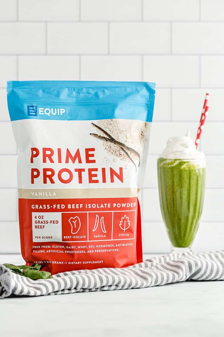 equip protein powder bag next to a shamrock shake copycat