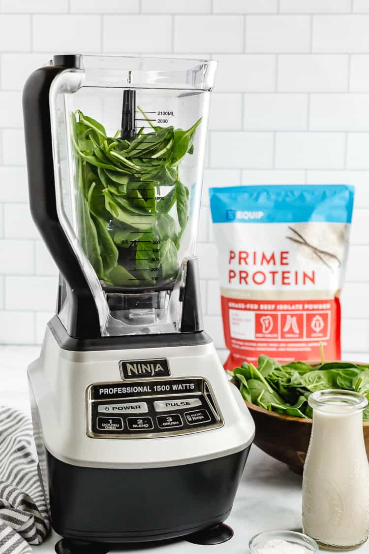 ingredients in a blender for a low carb shamrock shake