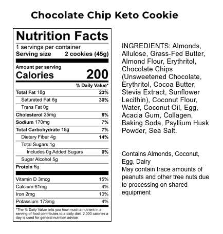perfect keto chocolate chip cookies nutrition label