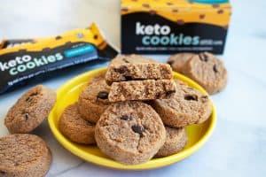 closeup of perfect keto chocolate chip cookies on a yellow plate for perfect keto cookies review