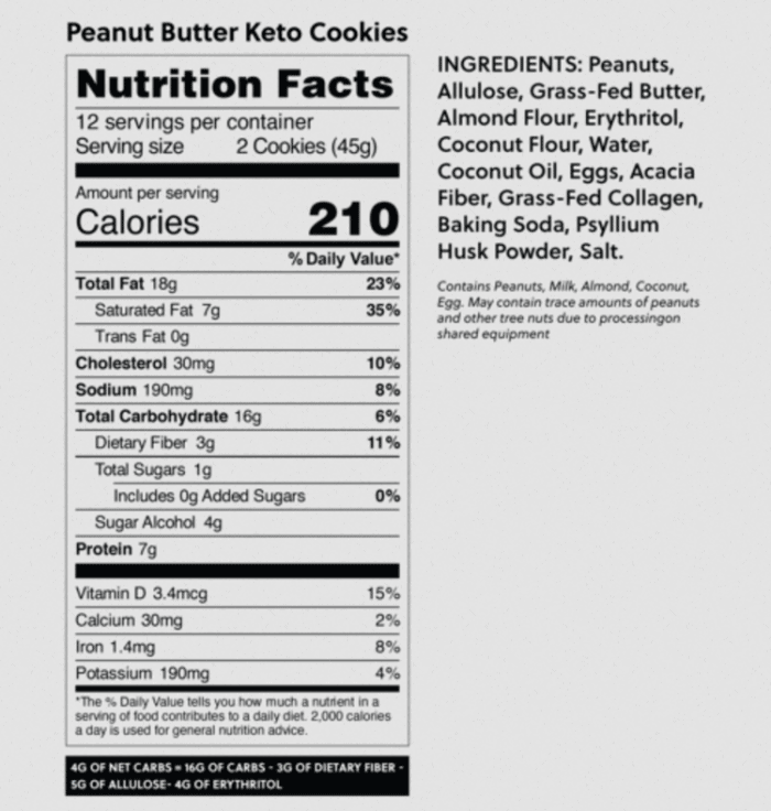 nutrition label for perfect keto peanut butter cookies