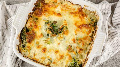 keto chicken broccoli casserole in a white casserole dish