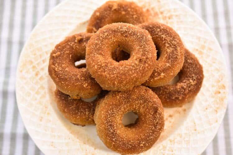 overhead view of cinnamon sugar keto donuts
