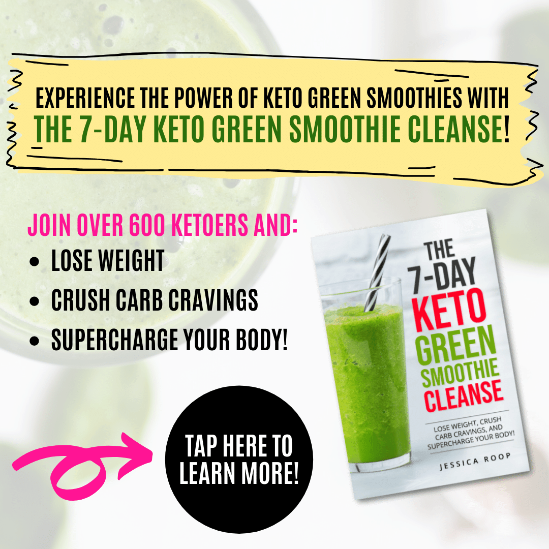 ad for keto green smoothie cleanse with book cover