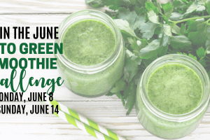 ad for june keto green smoothie cleanse with green smoothie in background