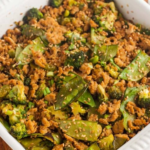 overhead view of keto teriyaki casserole in a white casserole dish