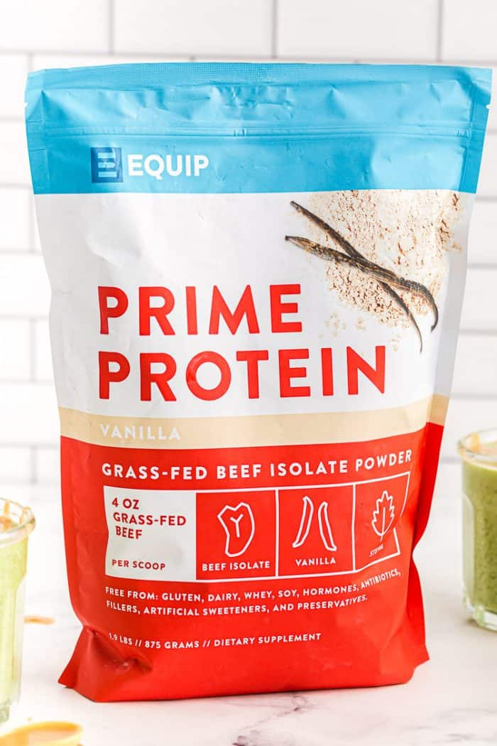 bag of equip protein powder used in keto banana smoothie