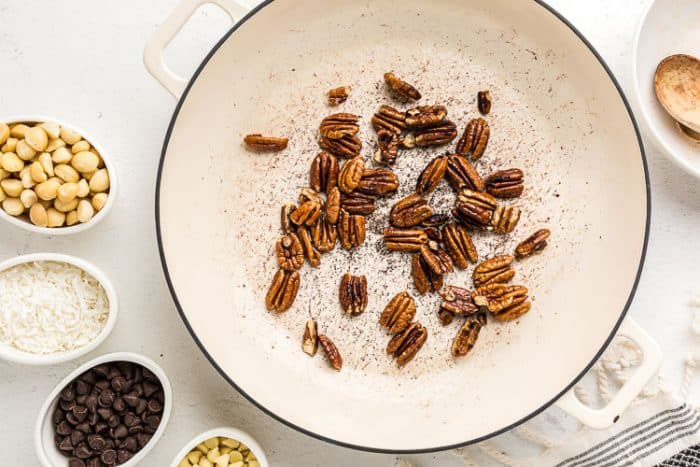 overhead view of a pan with toasted pecans