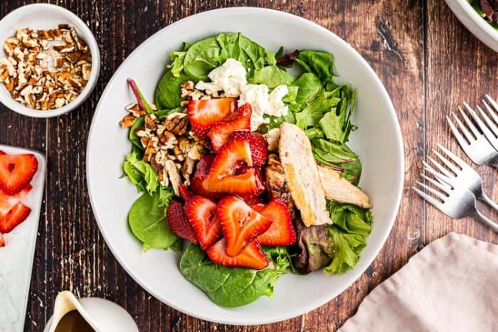 overhead view of fully combined keto strawberry chicken salad on a plate