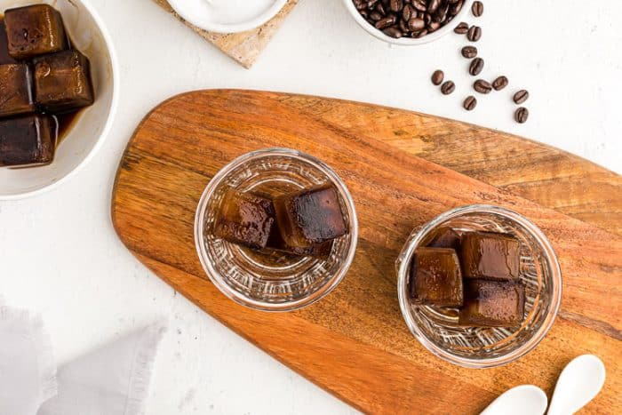 overhead view of keto easy iced coffee cubes in two glasses