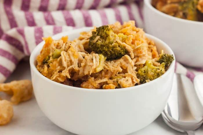 a small white dish featuring keto buttered chicken casserole serving