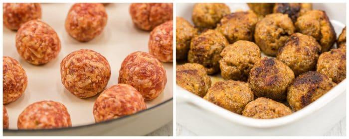 side by side italian meatballs for the keto casserole