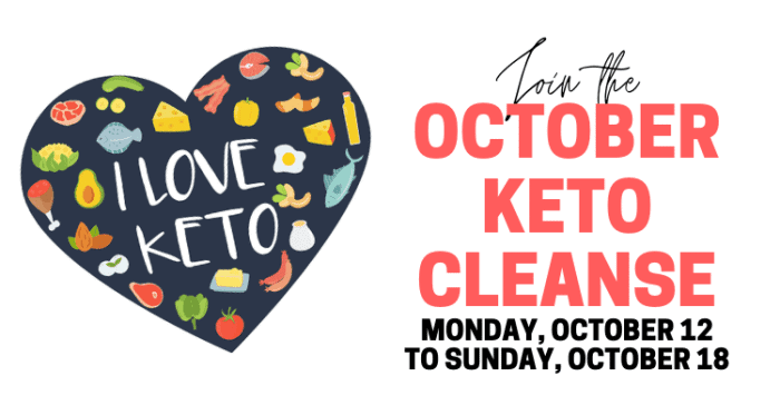text for october keto green smoothie cleanse next to an i love keto heart