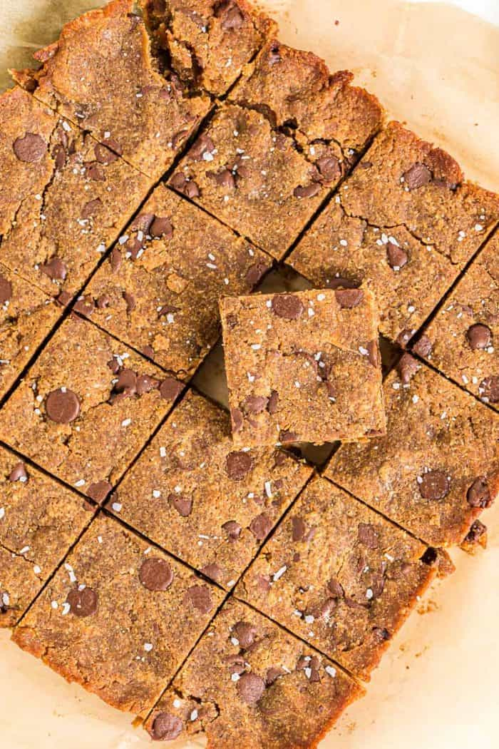 overhead view of keto peanut butter cookie bars on parchment paper