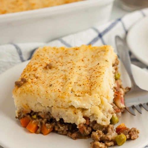 piece of keto shepherd's casserole on a white plate