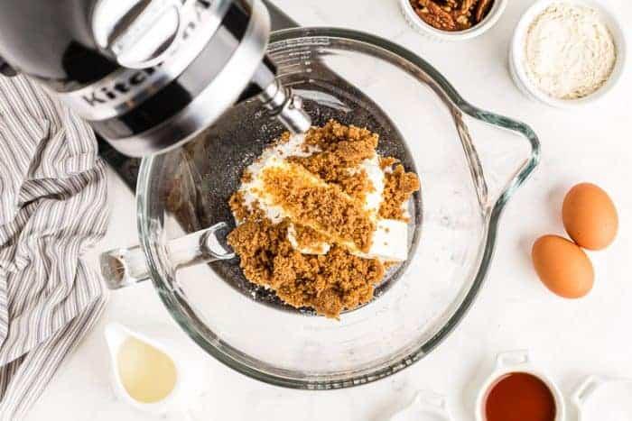 overhead view of keto wedding cookies ingredients in a mixer