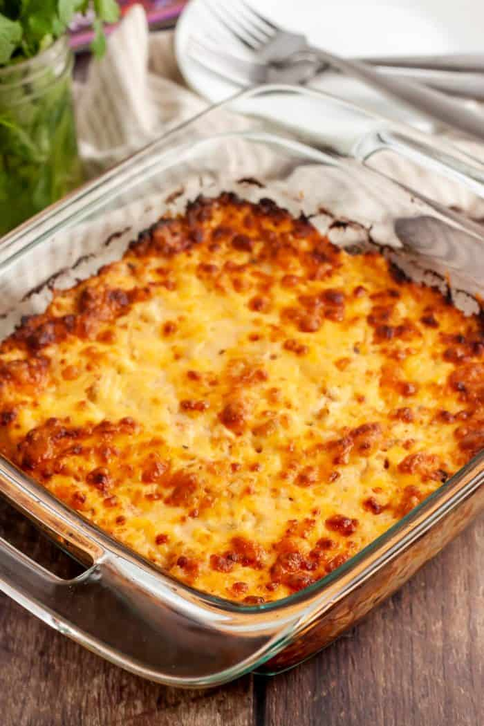 glass casserole dish with keto king ranch casserole