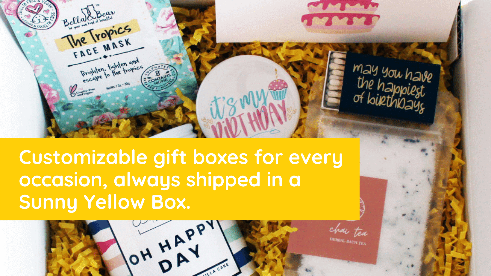 gift box with overlay describing sunny yellow box and items behind