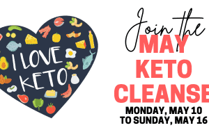 i love keto heart next to join the may keto cleanse text