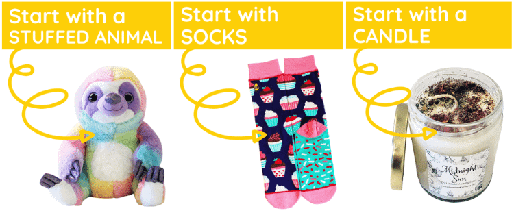 three different start with options including stuffed animal socks candle