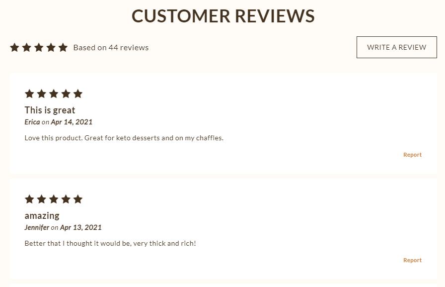 screenshot of choczero reviews for choczero chocolate syrup