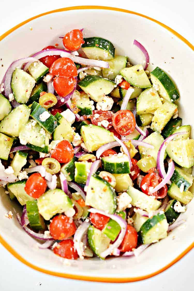 overhead view of keto greek salad in a large bowl