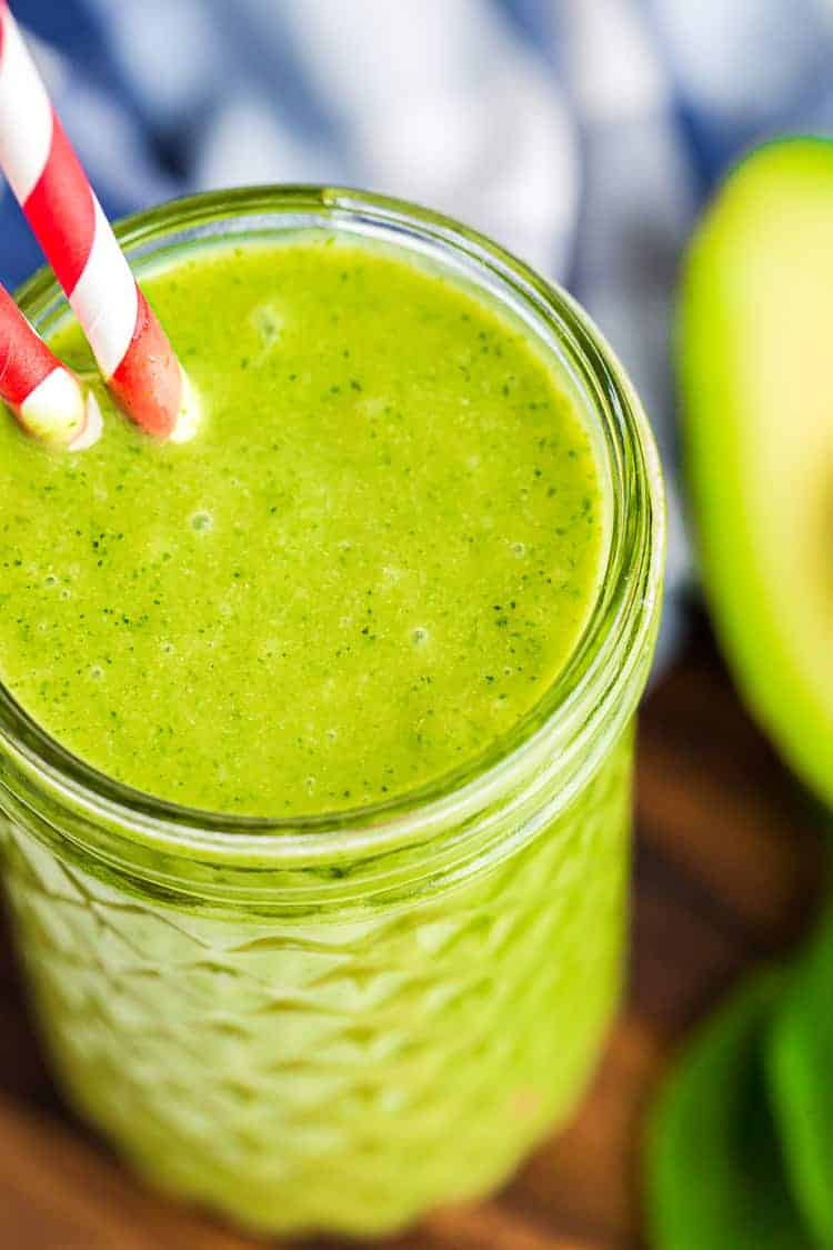 overhead view of keto gren smoothie in a tall glass