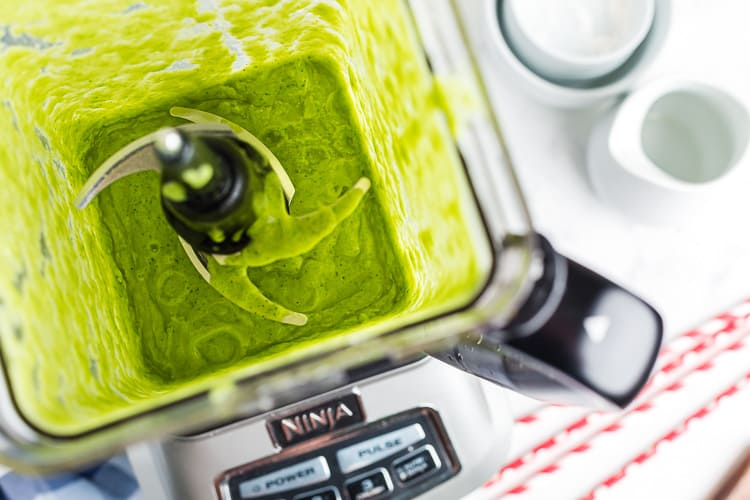 overhead view of blended vanilla ice cream keto green smoothie