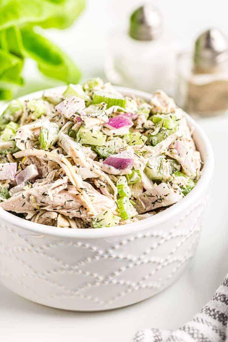 white bowl of keto chicken salad