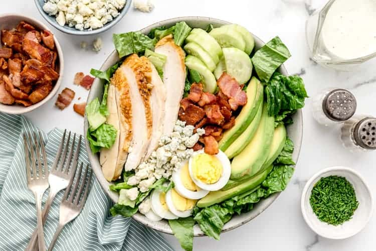 overhead view of large bowl containing keto cobb salad