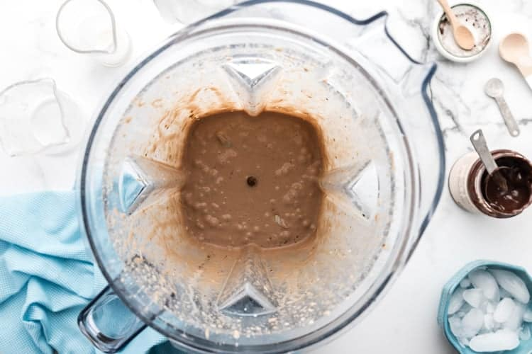 overhead view of blender containing keto frappuccino ingredients