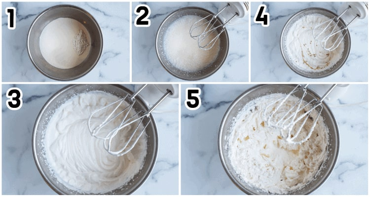 five steps showing the keto whipped cream process