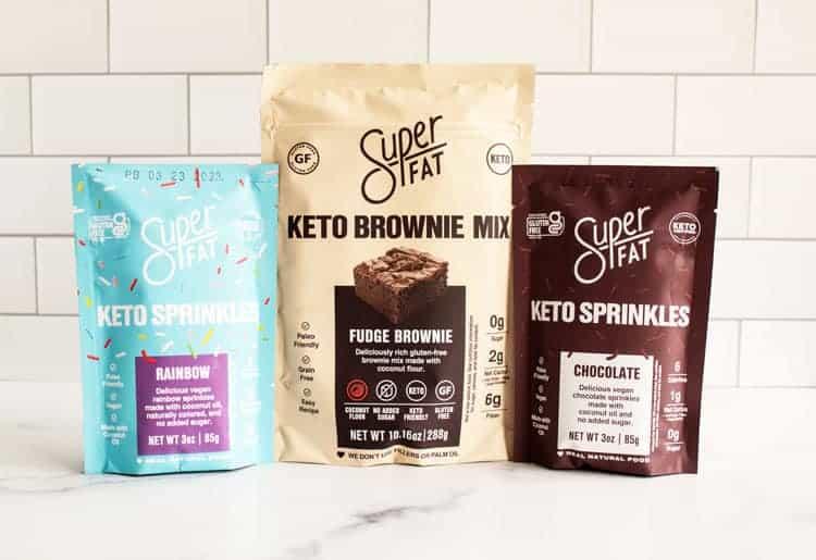 superfat keto brownie mix and superfat keto sprinkles