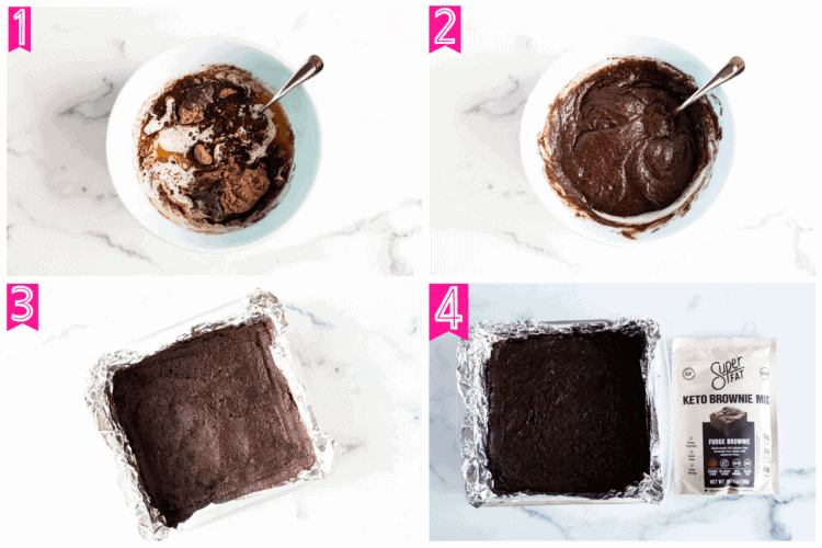 overhead view of first four steps involved in making keto brownies
