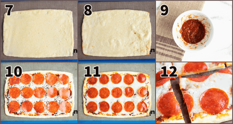six numbered pizza recipe steps