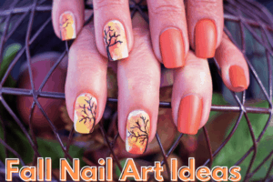 hand with halloween nails in two colors